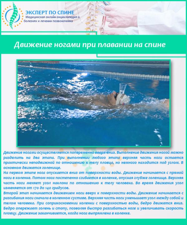 Движение ногами при плавании на спине