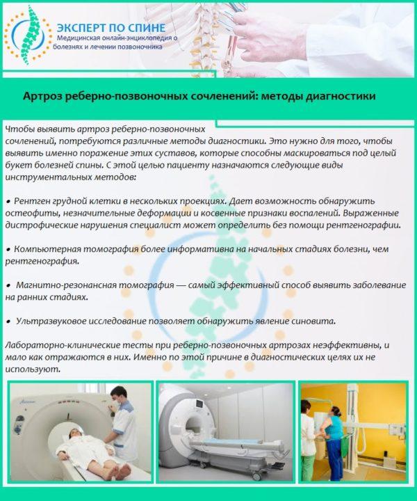 Артроз реберно-позвоночных сочленений: методы диагностики