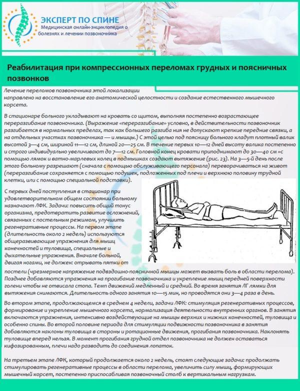 Реабилитация при компрессионных переломах грудных и поясничных позвонков