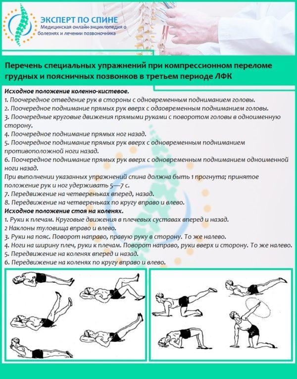 Перечень специальных упражнений при компрессионном переломе грудных и поясничных позвонков в третьем периоде ЛФК