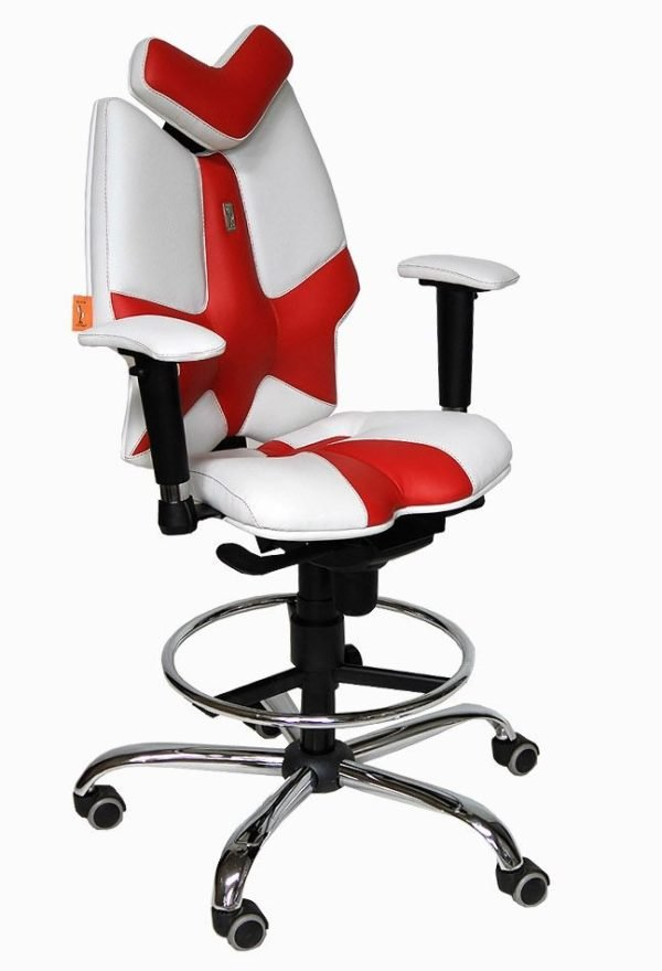 Ортопедическое компьютерное кресло из бело-красной кожи с мягкими подлокотниками и подголовником