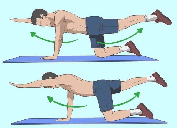 Упражнение с вытягиванием ног и рук