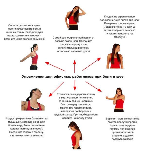 Упражнения для офисных работников при боли в шее
