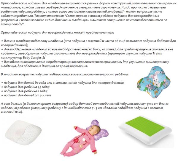 Выбор подушки для детей и новорожденных