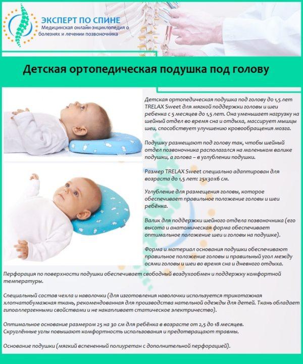 Детская ортопедическая подушка под голову