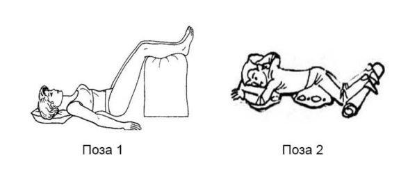 Рекомендуется принимать в постели такие позы, которые сами способствуют снятию воспаления и боли при поясничном радикулите