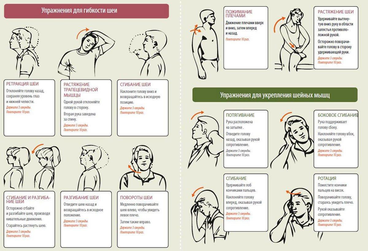 Упражнения при шейном остеохондрозе картинками