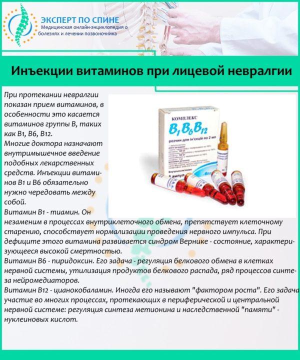 Инъекции витаминов при лицевой невралгии