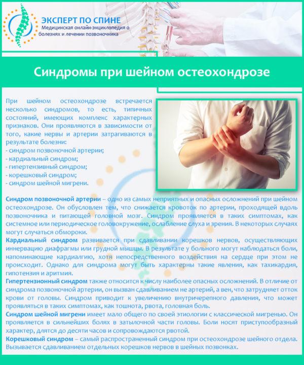 Синдромы при шейном остеохондрозе