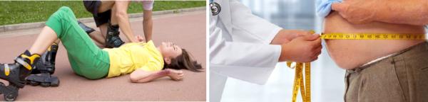 Спровоцировать появление боли в пояснице может травма спины при падении или избыточный вес