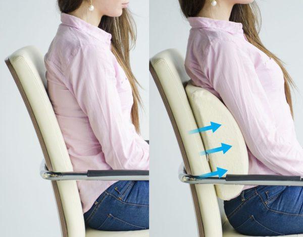 Если нет ортопедического кресла, стоит приобрести подушку для поясницы