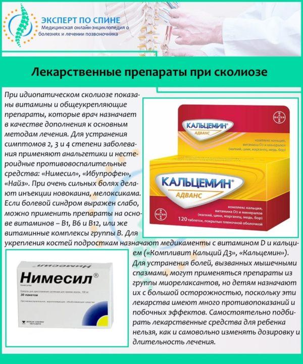 Лекарственные препараты при сколиозе