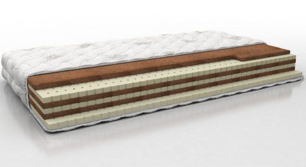 Разносторонний матрас на основе чередующихся слоев натурального латекса и кокосовой койры