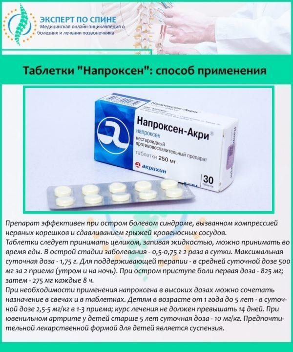 """Таблетки """"Напроксен"""": способ применения"""