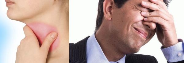 С развитием заболевания могут возникать болезненные спазмы в горле и мучительная пульсирующая боль в глазах