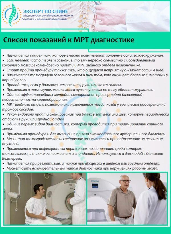 Список показаний к МРТ диагностике