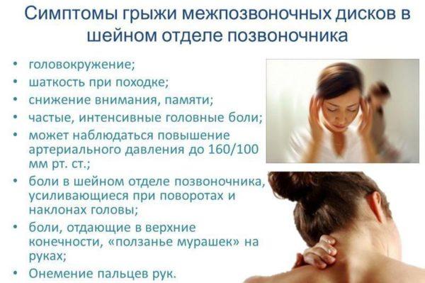 Cимптомы межпозвоночной грыжи шейного отдела