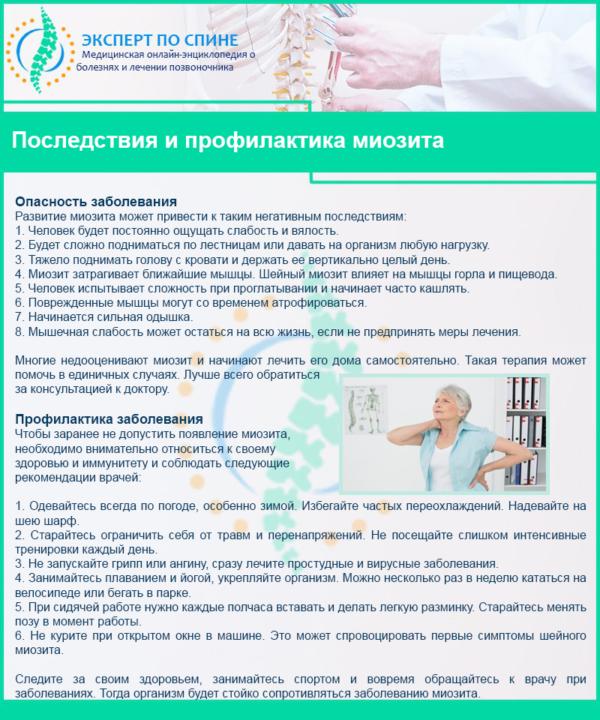 Последствия и профилактика миозита