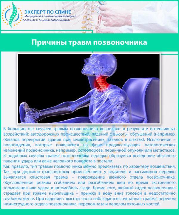 Причины травм позвоночника