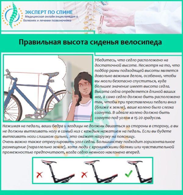 Правильная высота сиденья велосипеда
