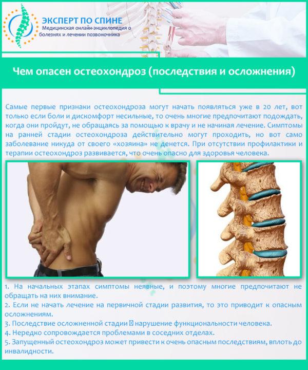 Чем опасен остеохондроз (последствия и осложнения)