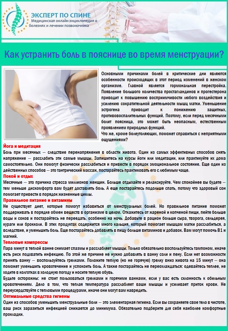 Как устранить боли в пояснице во время менструации?
