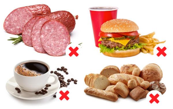 При остеохондрозе стоит отказаться от крепкого кофе, копченостей, ограничить употребление мучных изделий