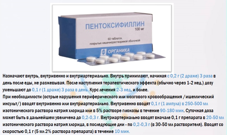 Правила приема пентоксифиллина