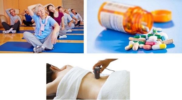 Чаще всего пациенту назначаются ЛФК, физиотерапия и прием медикаментов