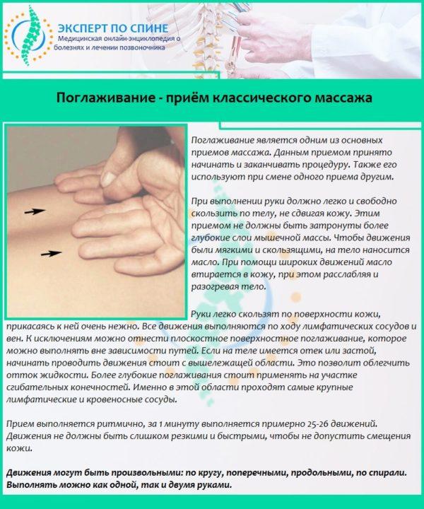 Поглаживание - приём классического массажа