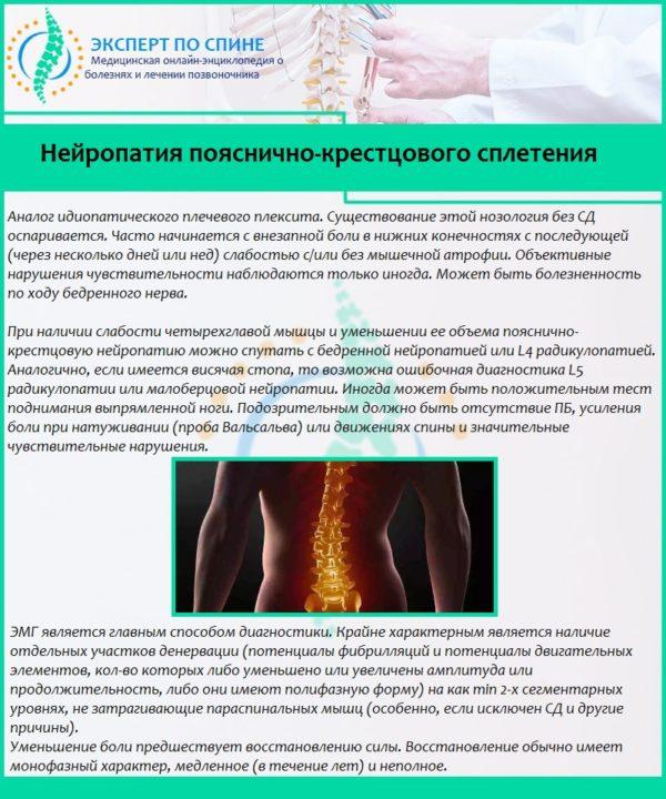 Нейропатия пояснично-крестцового сплетения