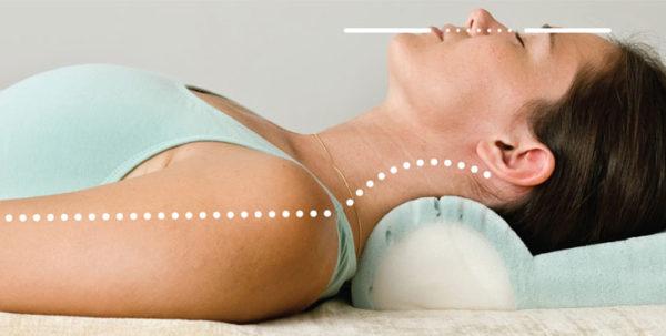 ортопедическая подушка поддерживает шейные позвонки в правильном положении во время сна