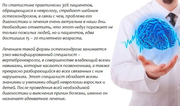 Вертеброневролог лечит шейный остеохондроз